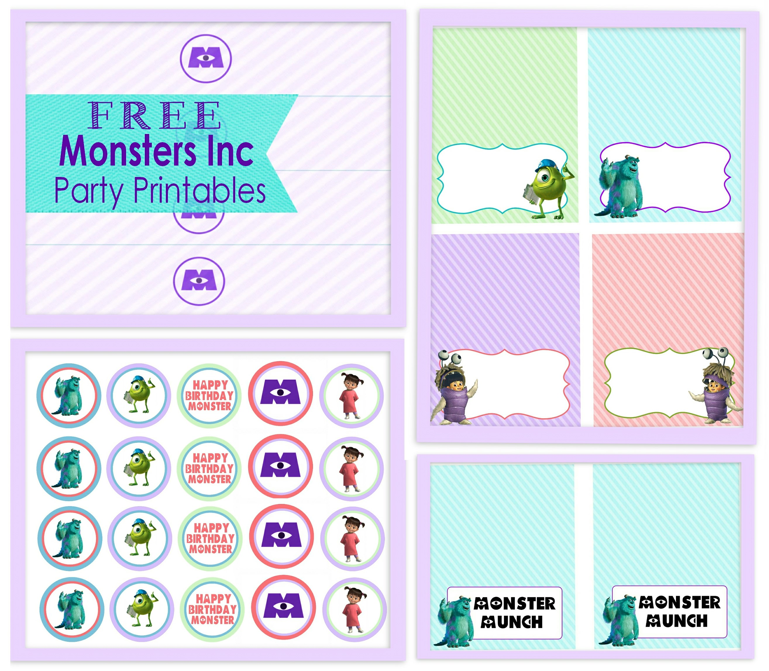 This is an image of Adorable Monsters Inc Door Printables