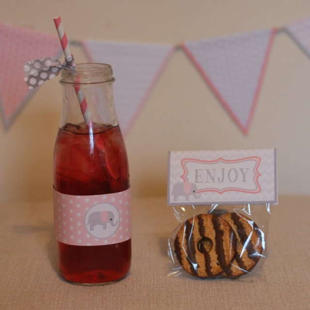 Free Pink/Gray Waterbottle Wrappers and snack bag labels