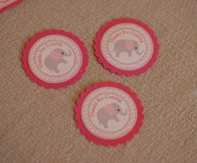 Free Printable pink gray Elephant thank you tags