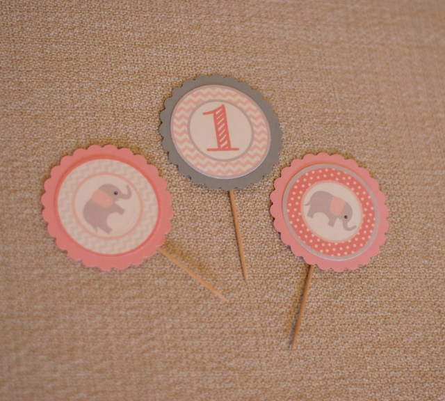 Free Elephant Pink/Gray Printable Cupcake Toppers