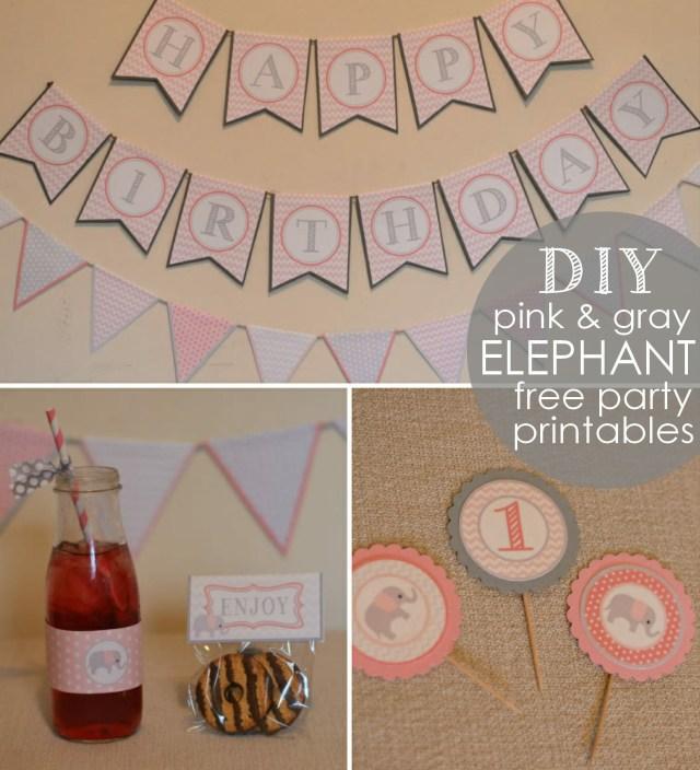 Free Pink & Gray Elephant Printables