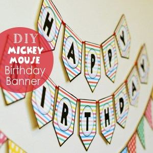 Free printable Mickey and Minnie Birthday Banner