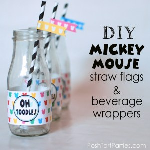 Free Bottle Wrappers For Mickey and Minnie Party