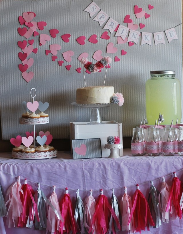 Sprinkle Hearts Dessert Table Backdrop