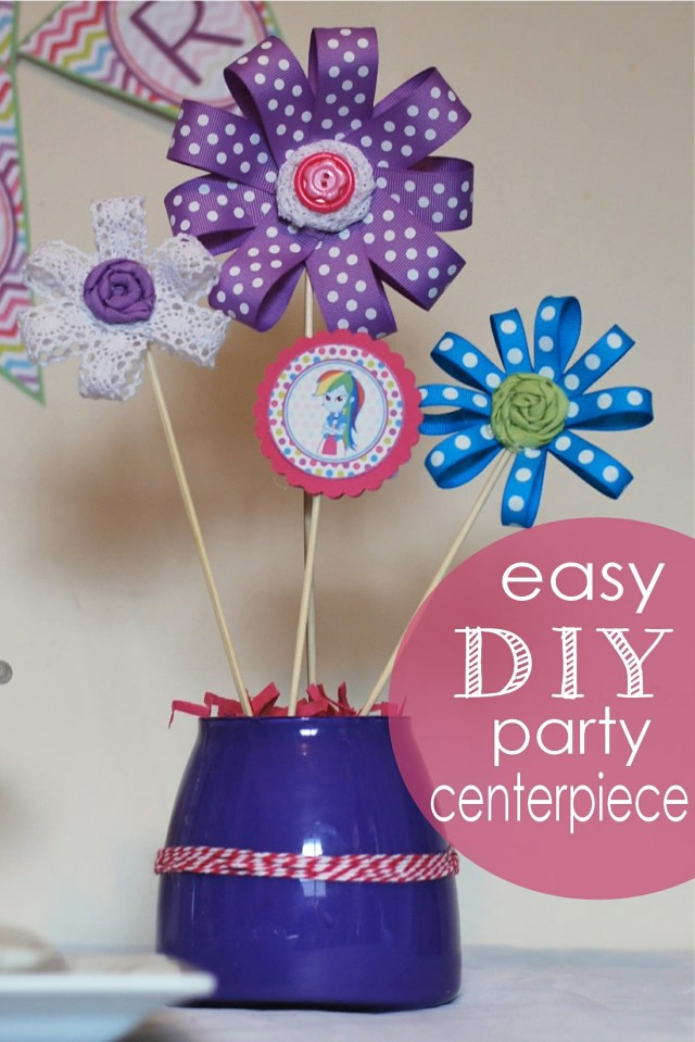 DIY Ribbon Flower Centerpieces
