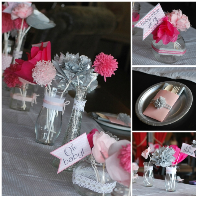 Paper flower shower centerpiece
