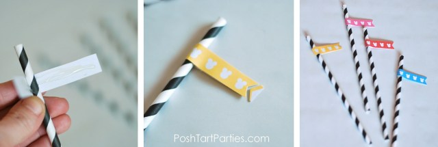 Paper Straws and Flags Free Mickey Printable