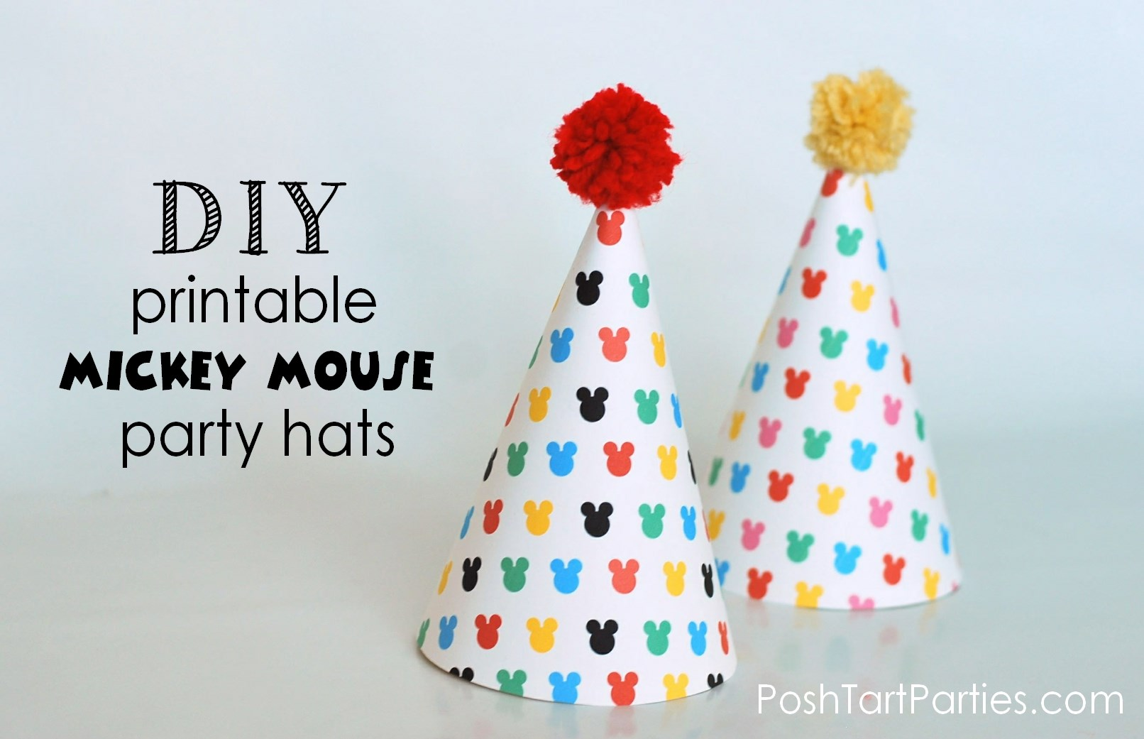 Free Printable Mickey Minnie Mouse Party Hats Posh Tart