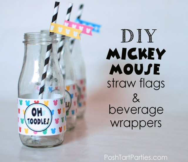 Mickey and Minne Free Printable Drink Wrappers and Straw flags