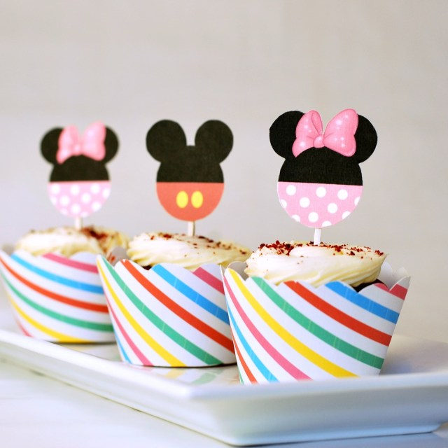 Free Mickey and Minnie Printable Cupcake Toppers and Wrappers