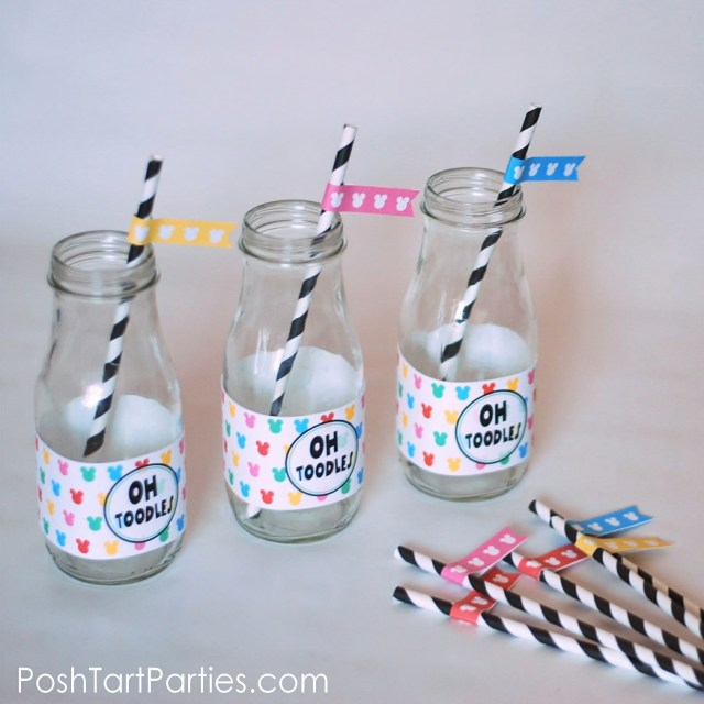 Free Mickey Party Printable - Bottle Wrappers and Straw Flags