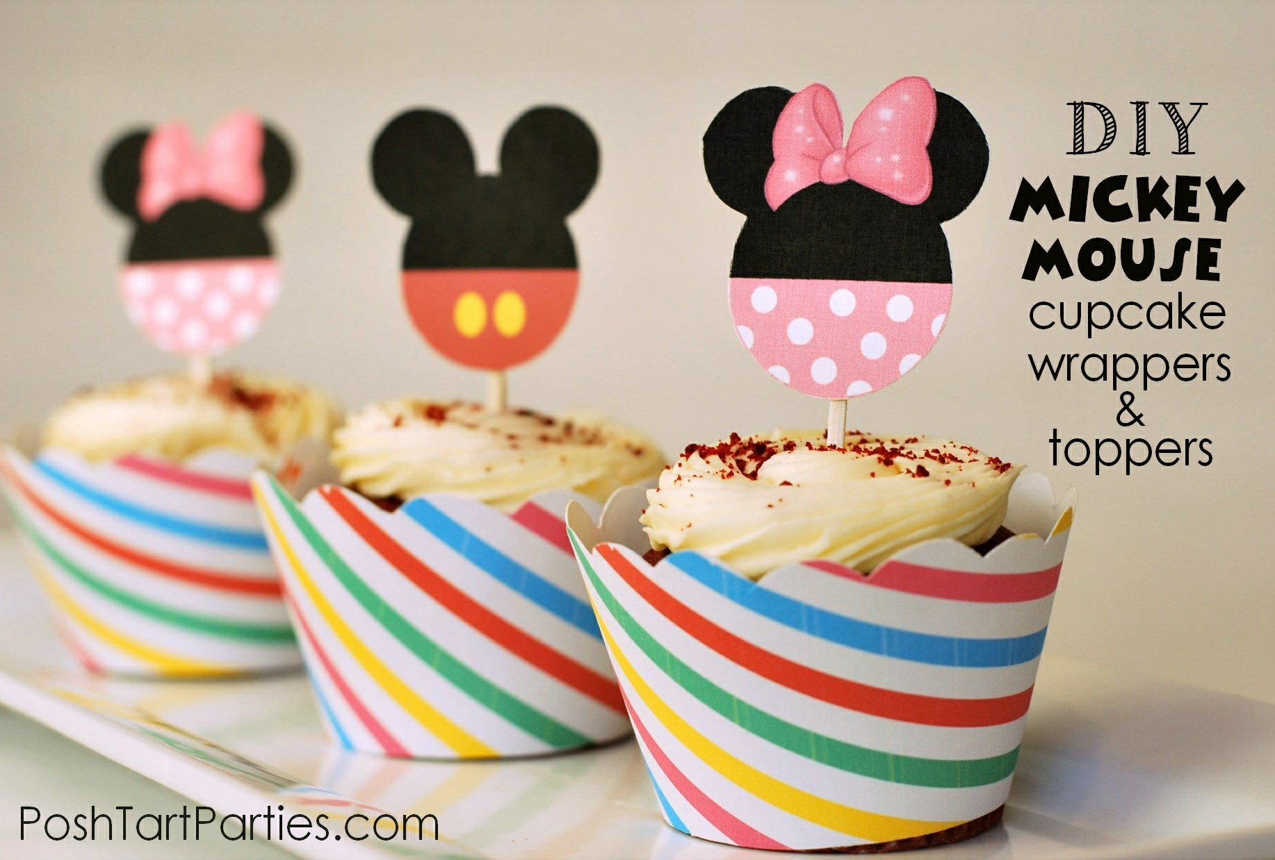 Free Printable Mickey Minnie Mouse Cupcake Wrappers and Toppers