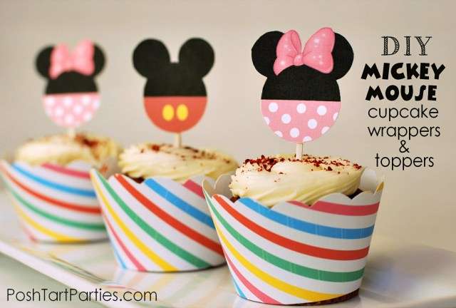 Free Printable Mickey and Minnie Cupcake Toppers